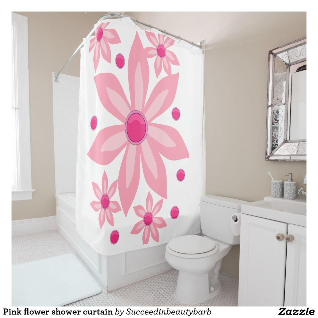 Pink flower shower curtain shower curtains pinterest flower shower pink flower shower curtain mightylinksfo