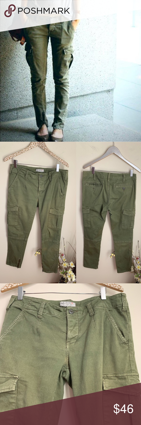 Free People Olive Green Skinny Cargo Military Pant Olive Green Cargo Pants Military Pants Green Cargo Pants