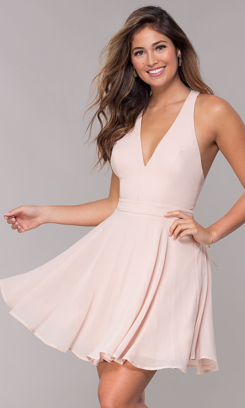 d5434f730226 Short Homecoming V-Neck Chiffon Party Dress in 2019 | A's sweet 16 ...
