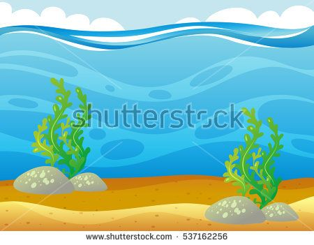 Ocean scene with seaweed underwater illustration | Mar | Pinterest ...