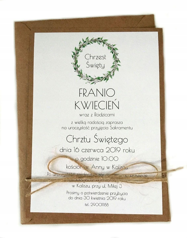 Zaproszenia Na Chrzest Chrzciny Kraft Rustykalne 7653793427 Oficjalne Archiwum Allegro Creative Communion Gifts