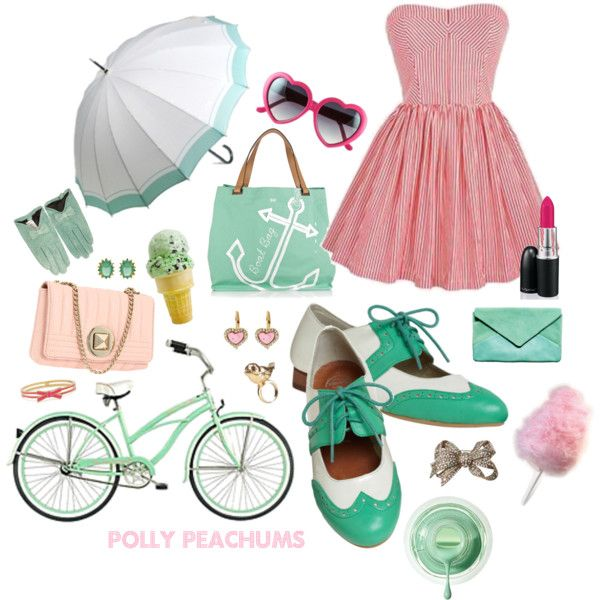"""mint & pink summer"" by pollypeachums on Polyvore"