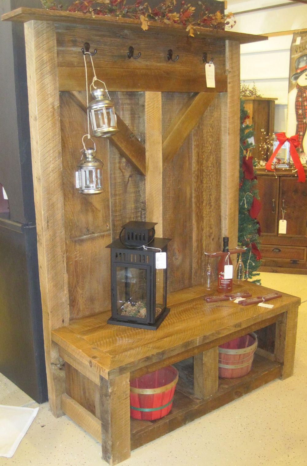 banc d 39 entr e bois de grange pinterest bois rustique. Black Bedroom Furniture Sets. Home Design Ideas