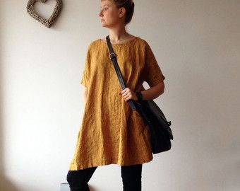 Linen Tunic Dress, Oversized Tunic, womens tunic, plus size tunic, linen tunics for women, linen dress with sleeves, natural linen dress