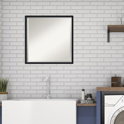 Photo of Ebern Designs Mettawa Modern Beveled Wall Mirror Size: 21″ x 21″, Finish: Satin Black