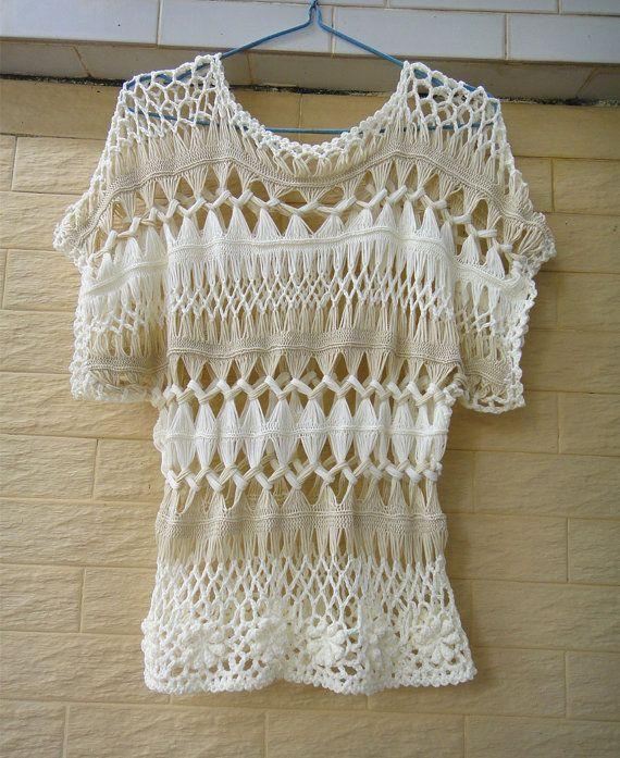 Crochet Blouse Top Short Sleeve Summer Beach Cover Up | Blusas top ...