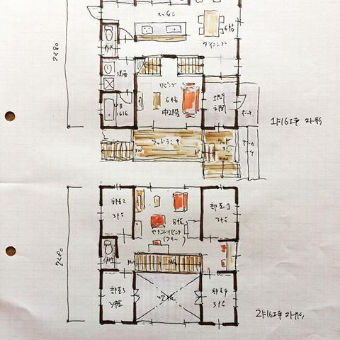 32坪の間取り 中2階のある間取り 高さに変化があると空間が面白く
