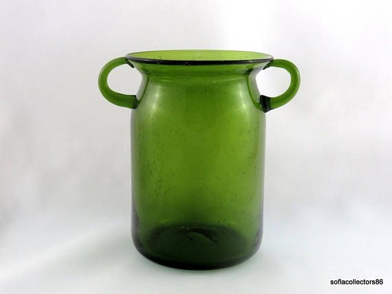 Large 2 Handle Hand Made Avocado Green Seeded Glass Vase Mid