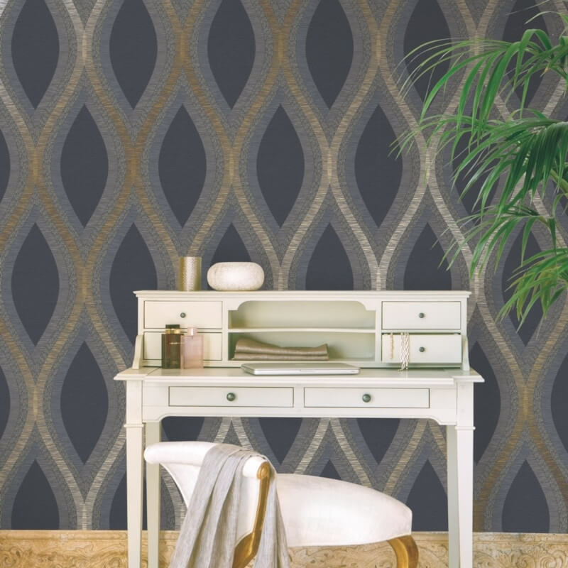 Grandeco Strata Geometric Curve Black Gold Metallic Wallpaper A44501 In 2020 With Images Gold Metallic Wallpaper Metallic Wallpaper Contemporary Wallpaper Designs
