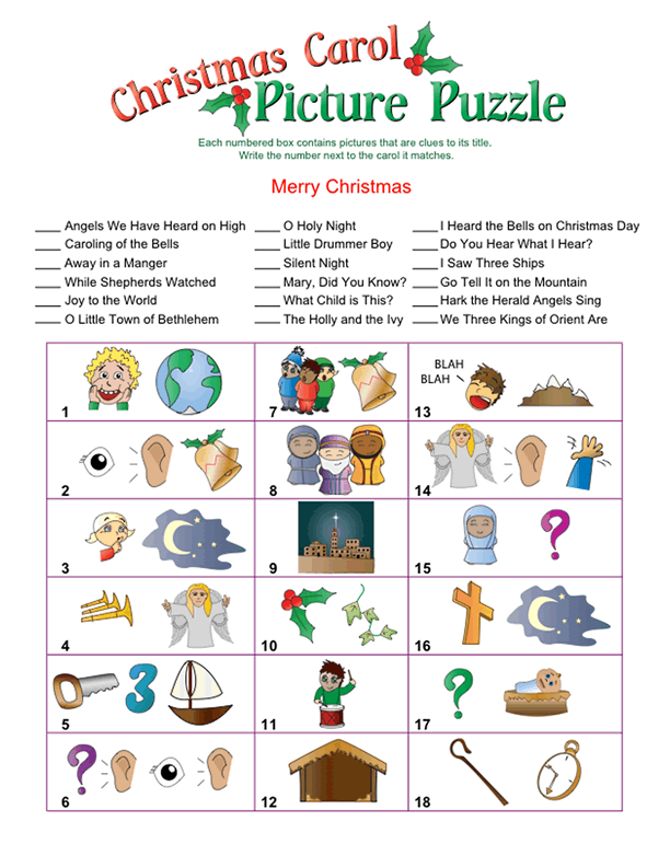 Christmas Carol Picture Puzzle | Fun christmas games