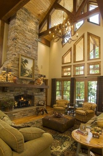 2 Story Great Room In Foreclosure The Planked Ceiling With Beams Would Look Awesome In There I Think I Rustic House Home Fireplace Stacked Stone Fireplaces