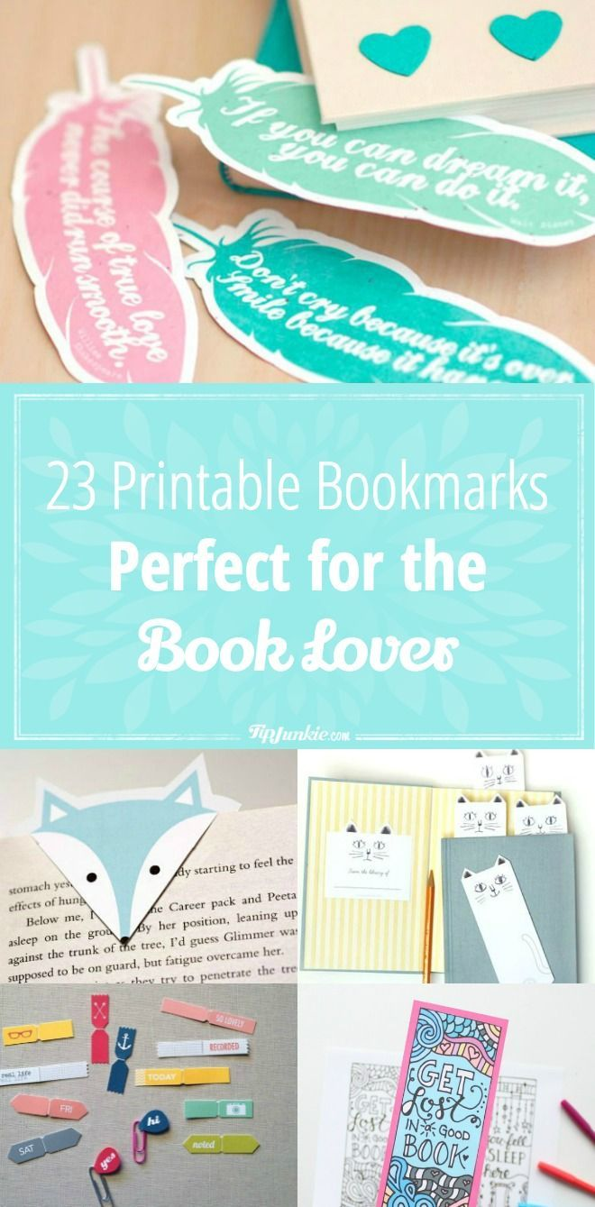 23 Printable Bookmarks Perfect for the Book Lover | Pinterest ...