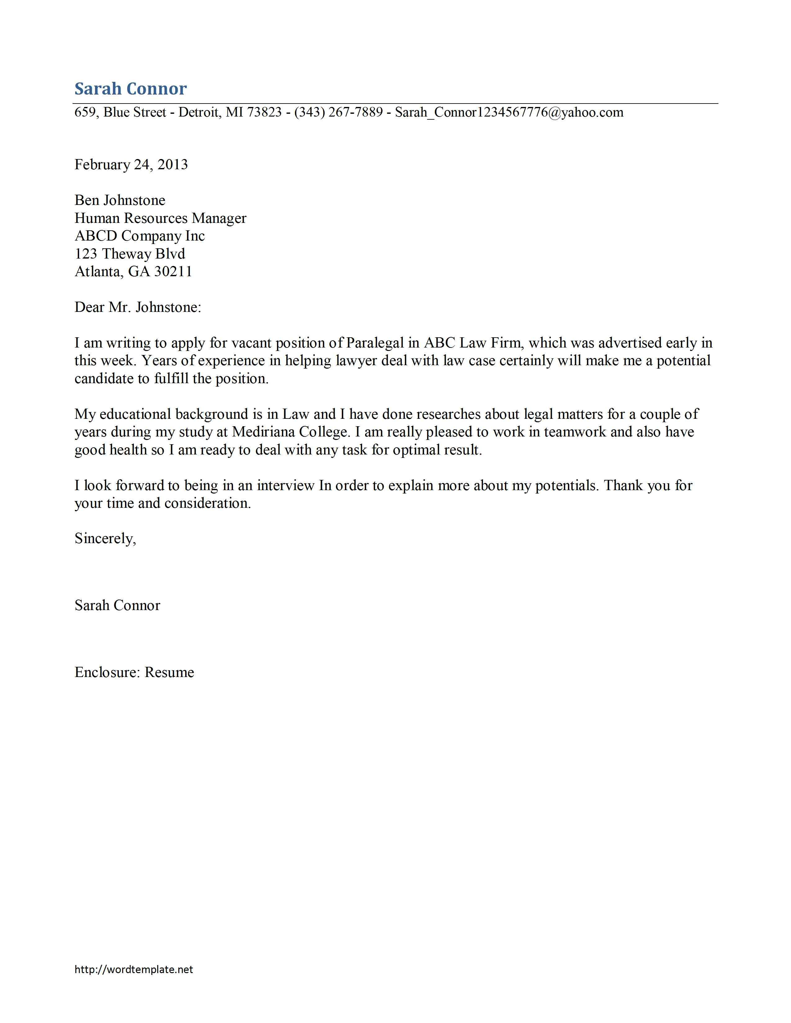 sample paralegal resume cover letters