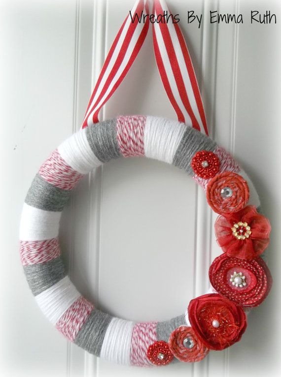 Pop of Red Yarn Wreath