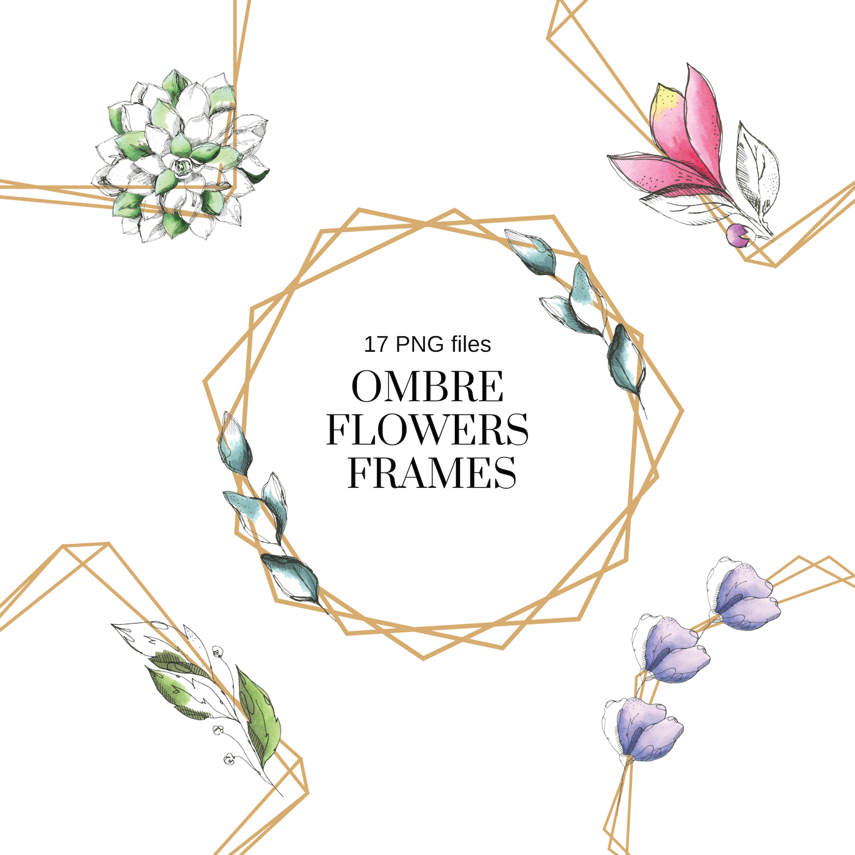 Delicate Flowers Watercolor Floral Geometric Frames, 15