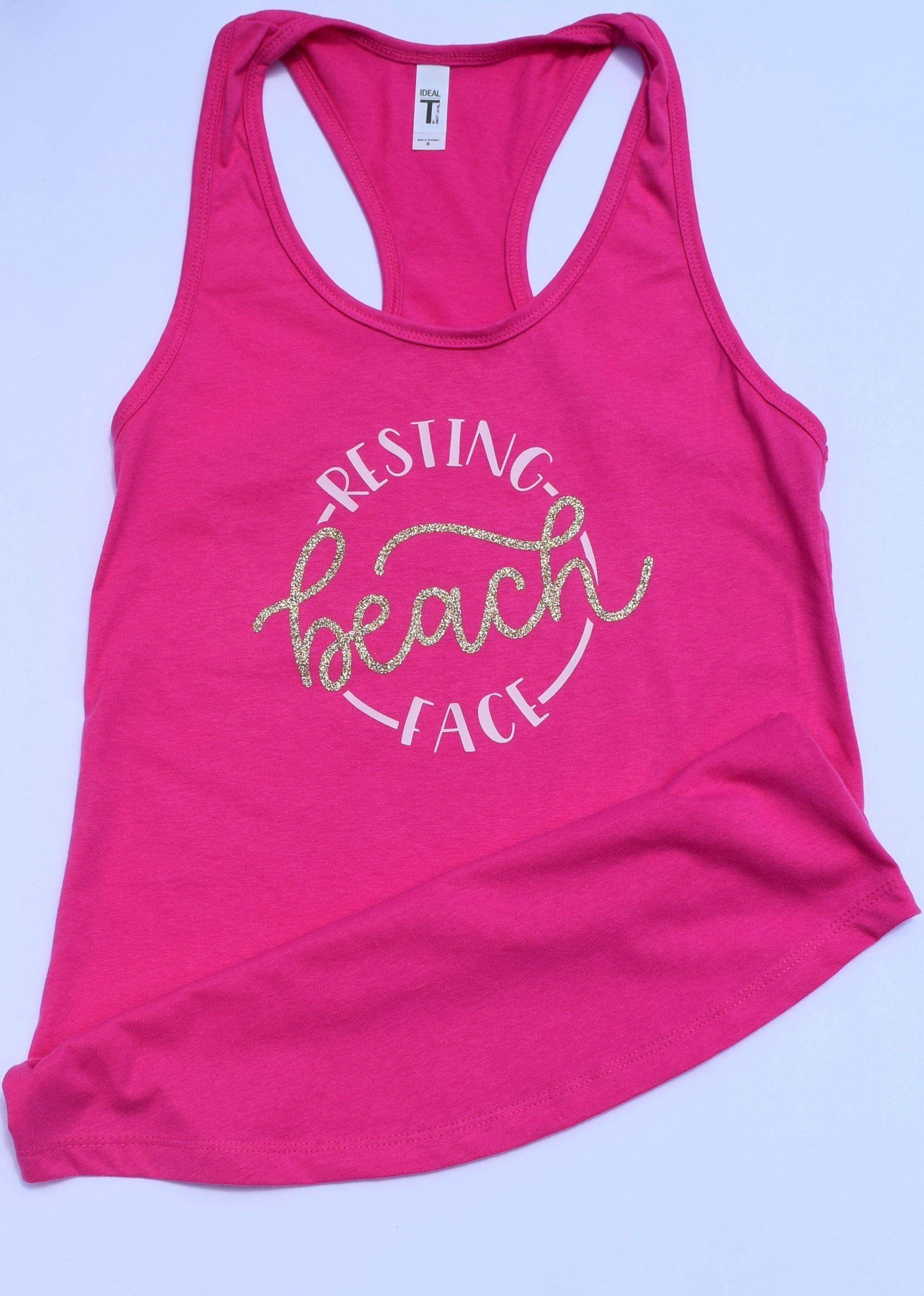 0255ed8f45 Resting Beach Face Women's tank top/ Summer vacation/ Hot Pink Racerback  Shirt/ Beach wear/ Bachelorette Party/ Group Vacation Shirts #women  #tanktops ...