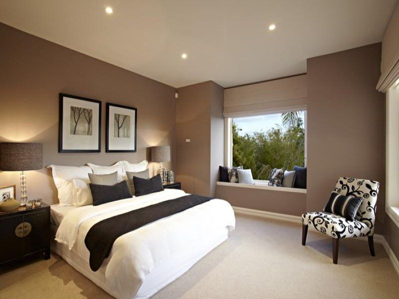 Modern Bedroom Design Idea With Floorboards Window Seat Using Black Colours Photo 297823