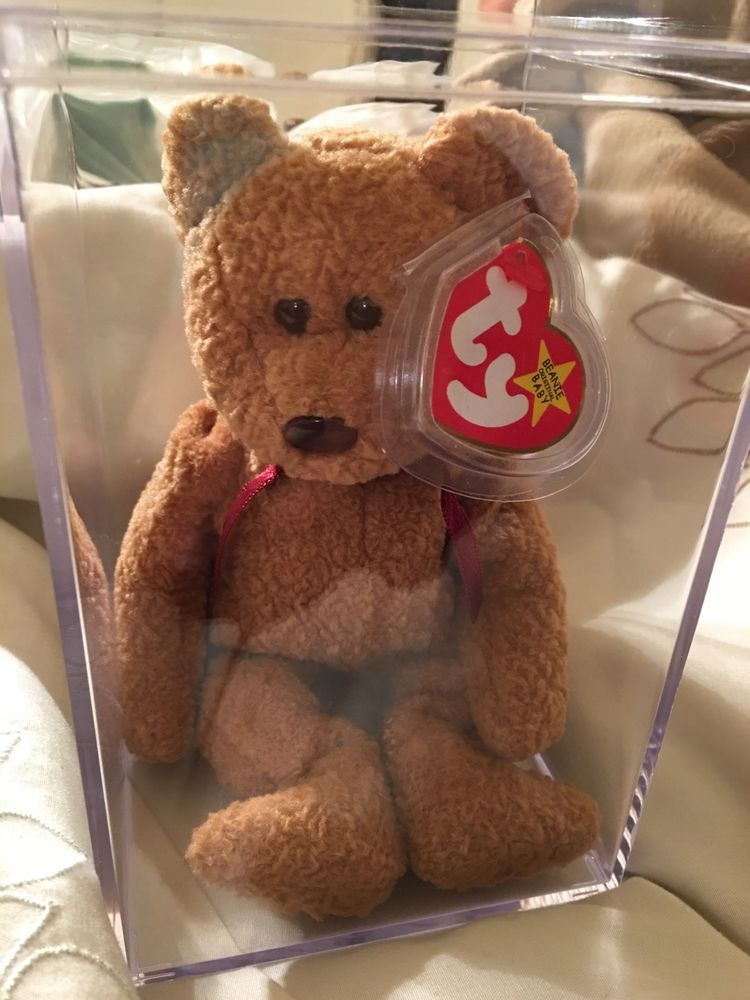 621cf538a64 Ty Beanie Baby 1996 CURLY BEAR with very rare collectible hang tag error  Ty