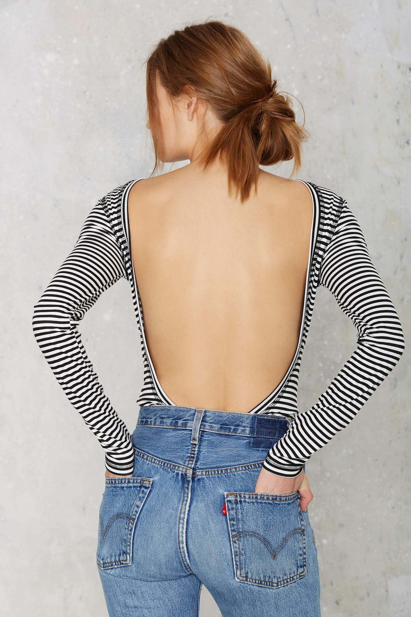 Nasty Gal Scouted Open Back Bodysuit - Stripes | Shop Clothes at Nasty Gal!