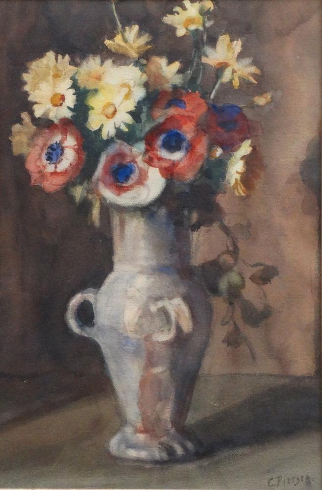 Pletser, aquarel, stilleven aquarel, 60 x 40, bloemen in vaas, gesigneerd G. Pletser (=George Pletser, 1871-1942)