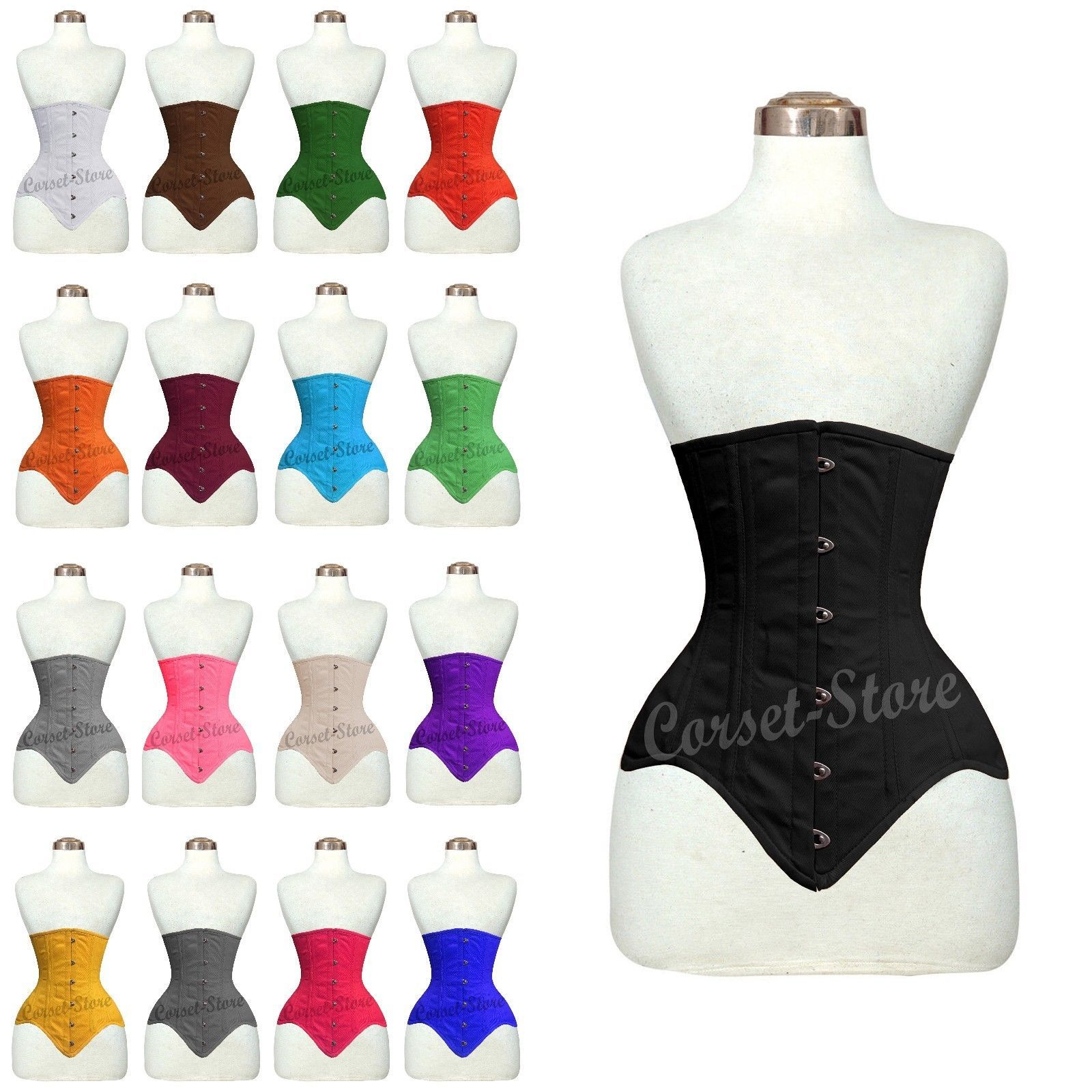 8054dd3061c 26 Double Steel Boned waist training Long Line Under-bust Cotton Corset  8552C. For Perfect Hourglass Figure