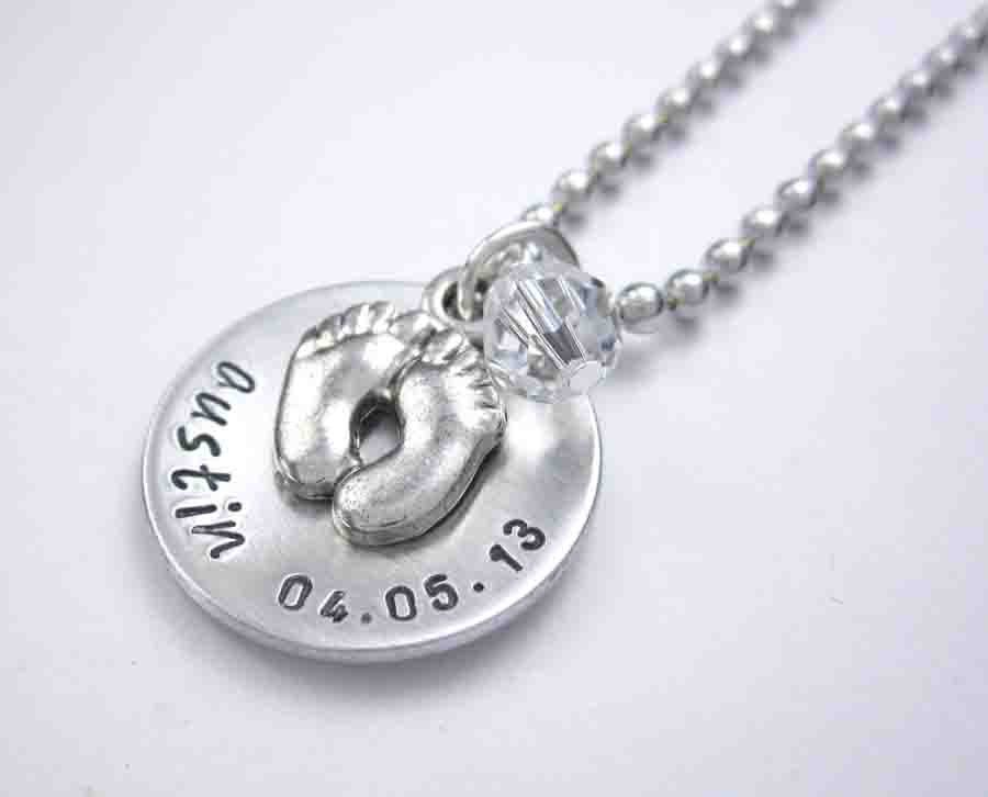 Personalized Mommy Newborn Necklace - Handstamped Baby ...
