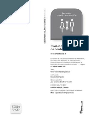 6 Matematicas Saber Hacer Evaluacion Contenidos 2015 Pdf Matematicas Primaria Matematicas Exámen De Matemáticas