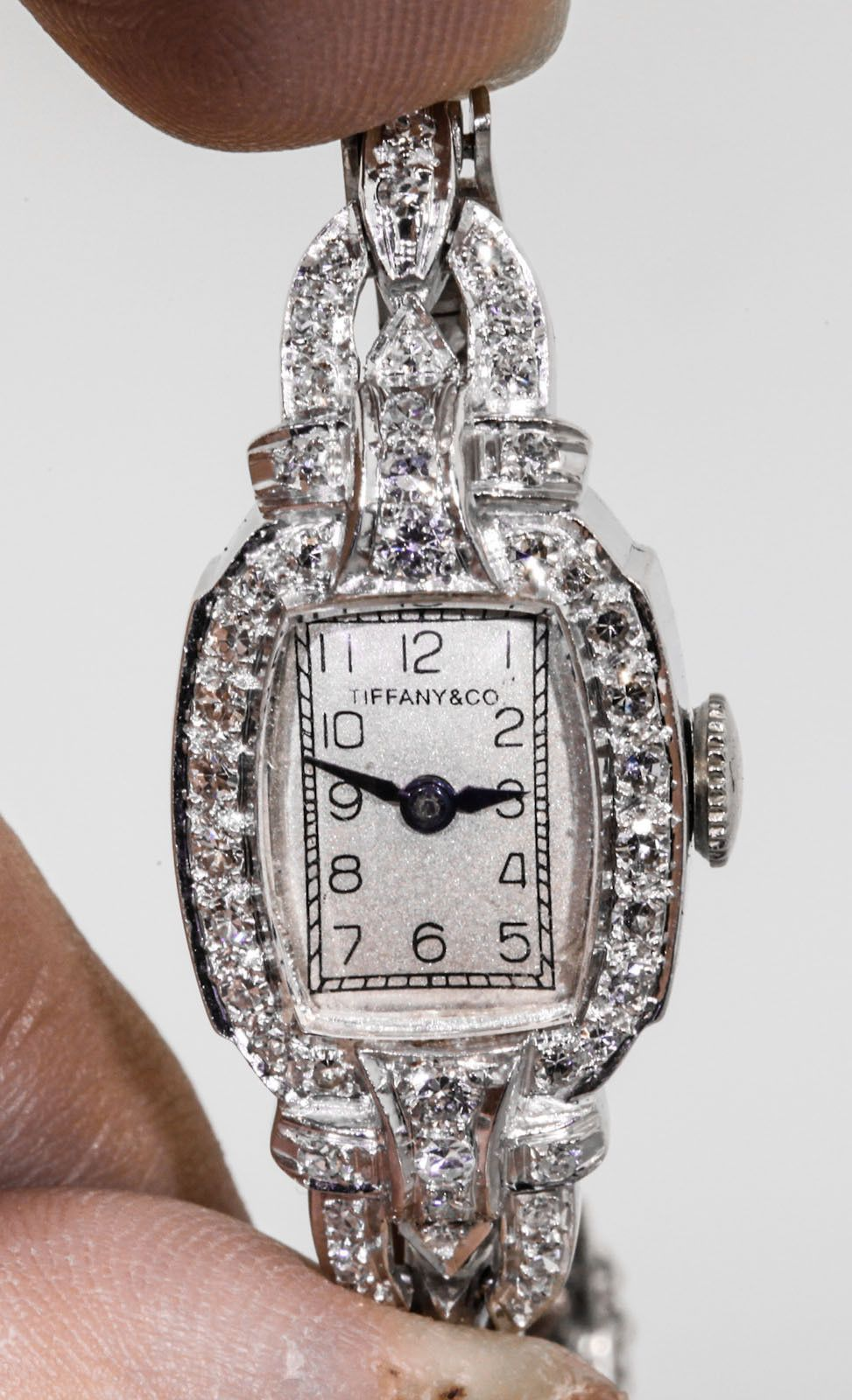 Antique s tiffany u co ct vs g diamond platinum ladies watch