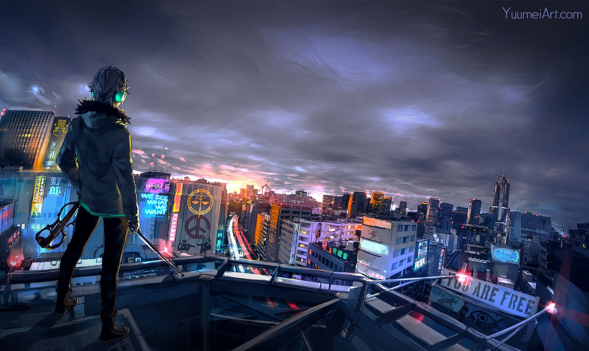 Anime Boy Hoodie Night Cityscape Rooftop Sword Fisheye
