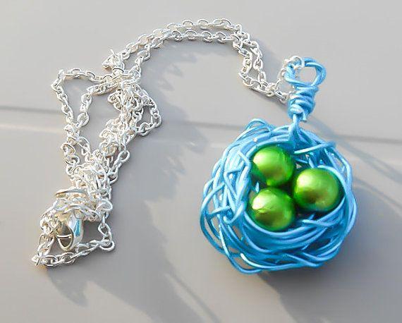 Blue birds nest necklace nest necklace nest pendant layered birds nest nest necklace birds nest necklace bird nest blue necklace aloadofball Choice Image