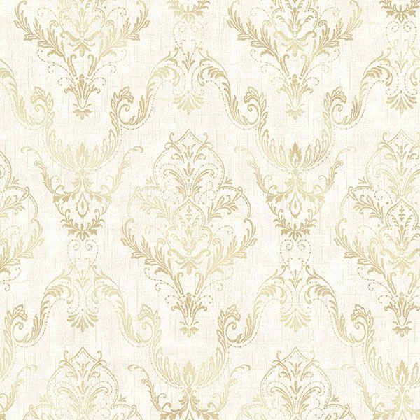 2665-21447 Cream Lace Damask - Wiley - Avalon Wallpaper by Decorline