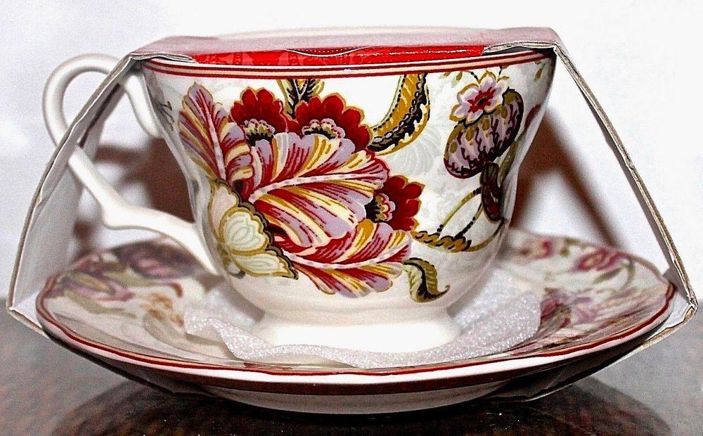 222 fifth gabrielle cream flat cup & saucer set new floral fine ...