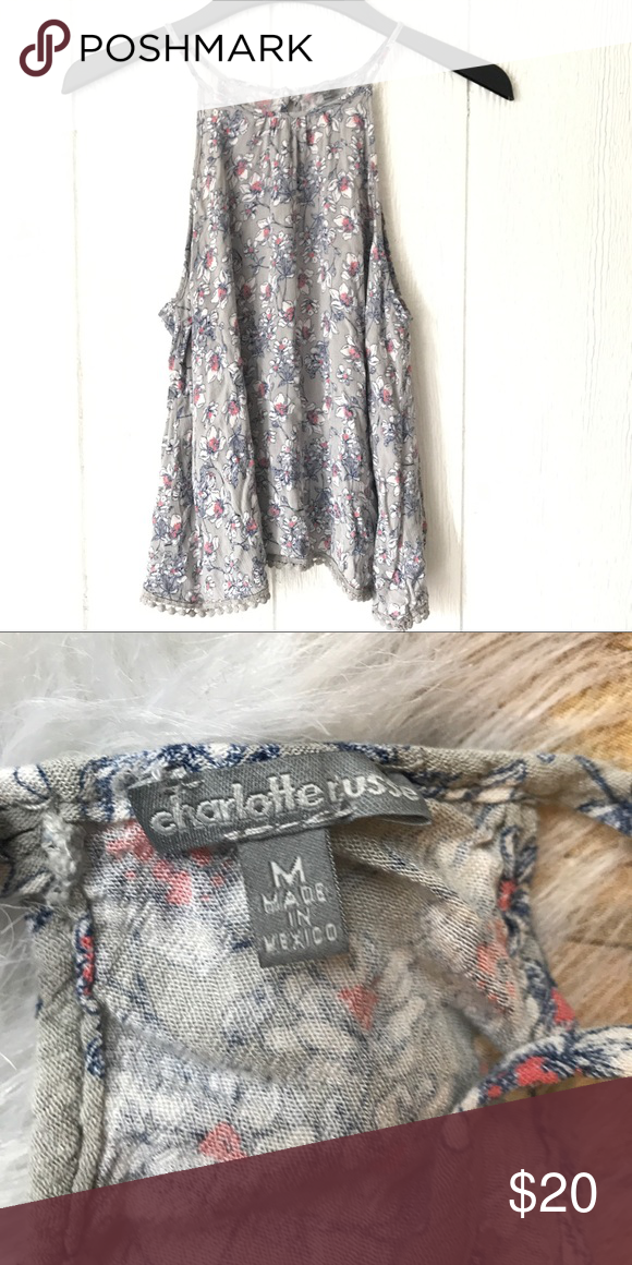 High neck gray flower skinny straps Like new/ no trades / back zip up / make me an offer / smokefree , pet free home/ ships in 24 hours ! Charlotte Russe Tops Tank Tops