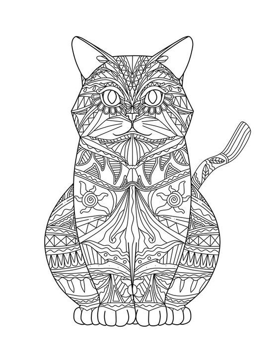 Intricate Cat Coloring Pages : Mandalas de gatos imprimir coloring animals