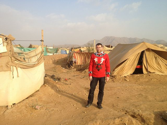 #whereswoolly today? A Save the Children staff member sports his Christmas jumper in Yemen.