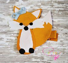 Fox Forest Ribbon Sculpture Zoo  Animal Girl Toddler Hair Bow Hair Clip.