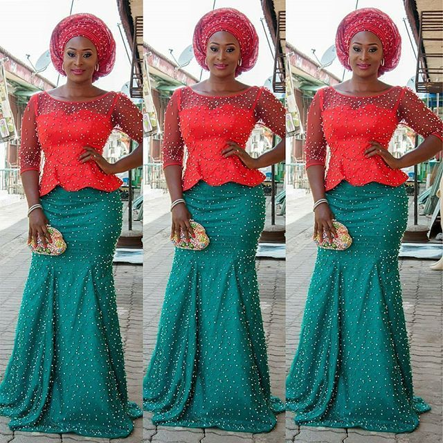 Aso Ebi Styles 2016 : Green and Red Colour Combinations Aso