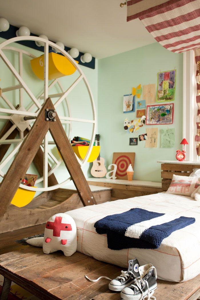 Bedroom, White Bed Brown Wooden Floor Fairground Themed Kids Room Dark Blue  Blanket Pillow Sheet