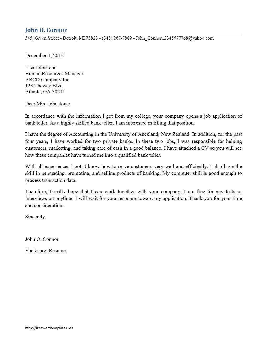 23 Bank Teller Cover Letter For Clotrimazolhandkwebsite