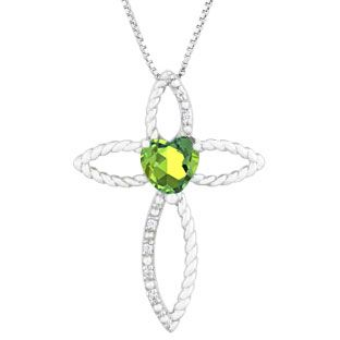 Diamond august birthstone peridot heart cross pendant in sterling diamond august birthstone peridot heart cross pendant in sterling silver gemologica offers a unique mozeypictures Gallery