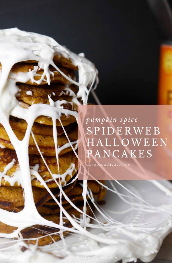 Pumpkin Spice Spiderweb Halloween Pancakes - Dare to Cultivate #halloweenbreakfastforkids These Pumpkin Spice Spiderweb Halloween Pancakes are the perfect ghoulish Breakfast this time of year! #Halloween // Halloween Breakfast for Kids // Halloween Breakfast Ideas // Halloween Breakfast Party // Halloween Breakfast Easy // Halloween Breakfast for Adults // Halloween Breakfast Recipes // Halloween Breakfast Mornings // Halloween Breakfast Cute // Halloween Recipes Easy // Halloween Recipes Kids / #halloweenbreakfastforkids