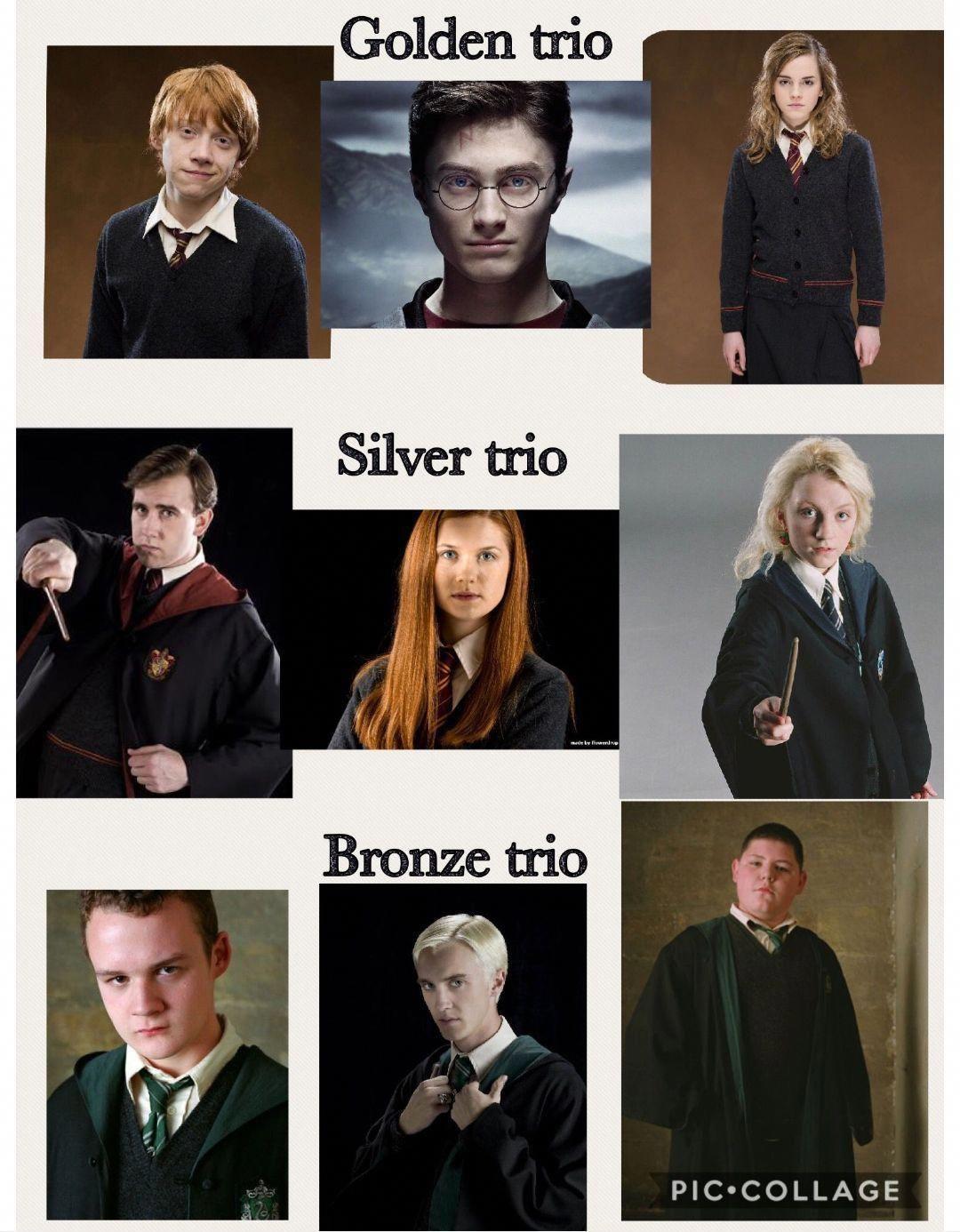 Golden Silver And Bronze Trio Harrypotterquotes Harry Potter Feels Harry Potter Memes Hilarious Harry Potter Actors