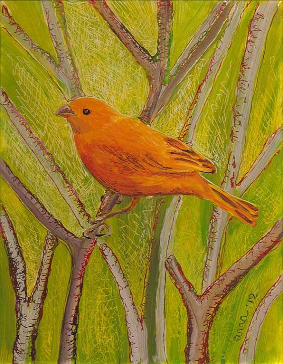 Saffron Finch  original reverse painting on plexiglas on Etsy, $325.00