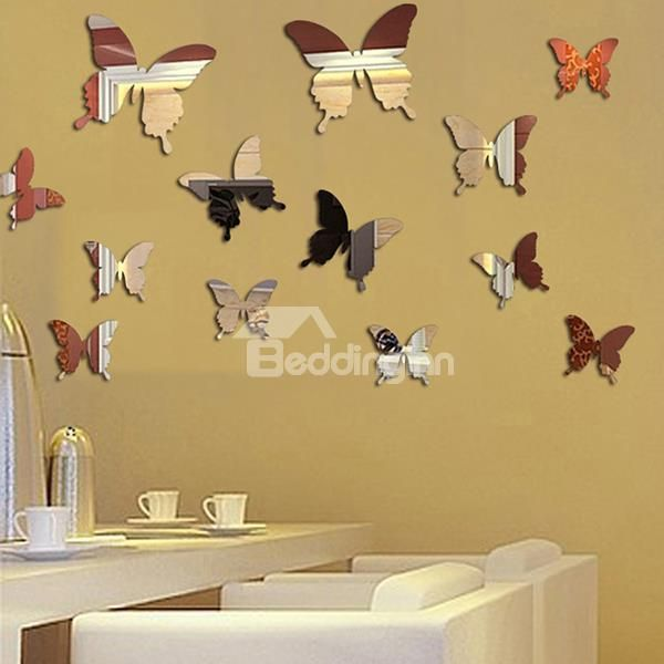 Amazing Acrylic Butterfly Pattern Mirror Wall Stickers | Wall ...