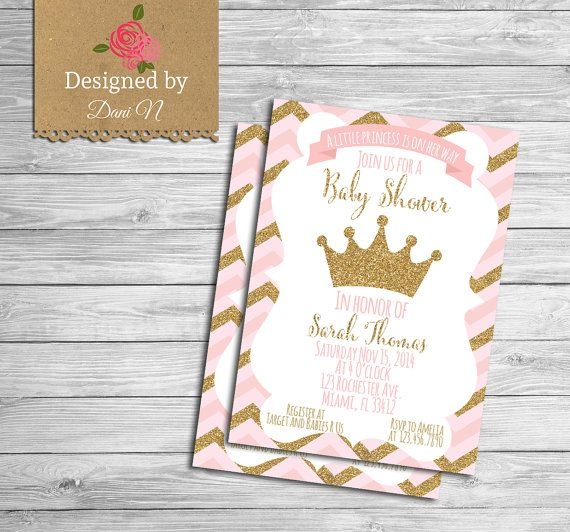 Baby Shower Invitation Princess Pink And Gold Crown Printable Shabby Chic Chevron Invite