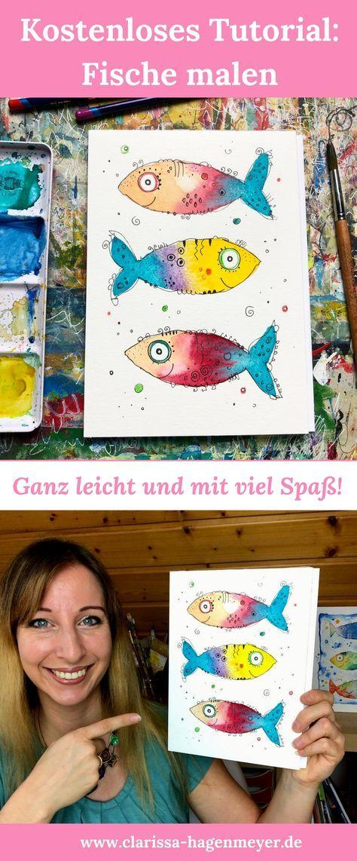"""Kostenloser Mini-Malkurs """"Happy Fische"""": Male mit mir fröhliche Fische und hab …"""