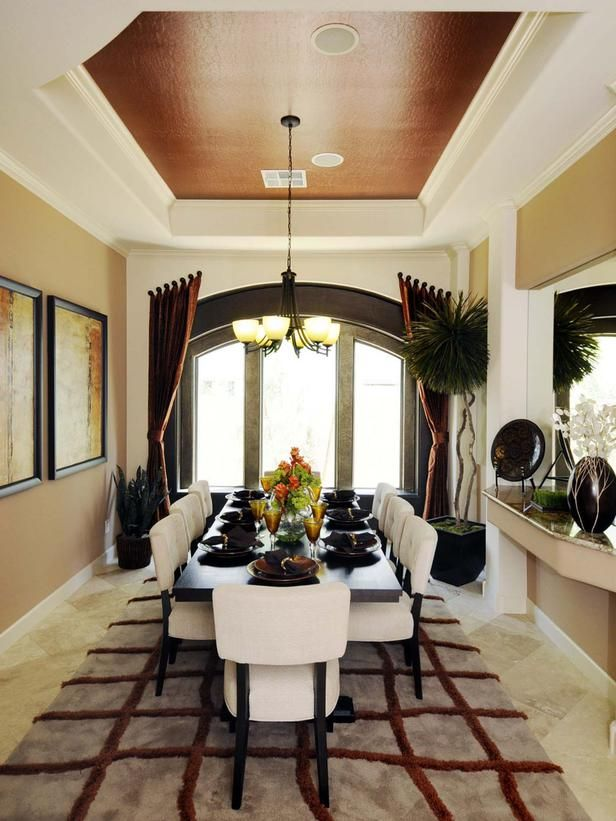 Dining Room Ceiling A Coffered Ceiling And Arched Glazing Add Inspiration Coffered Ceiling Dining Room Design Inspiration