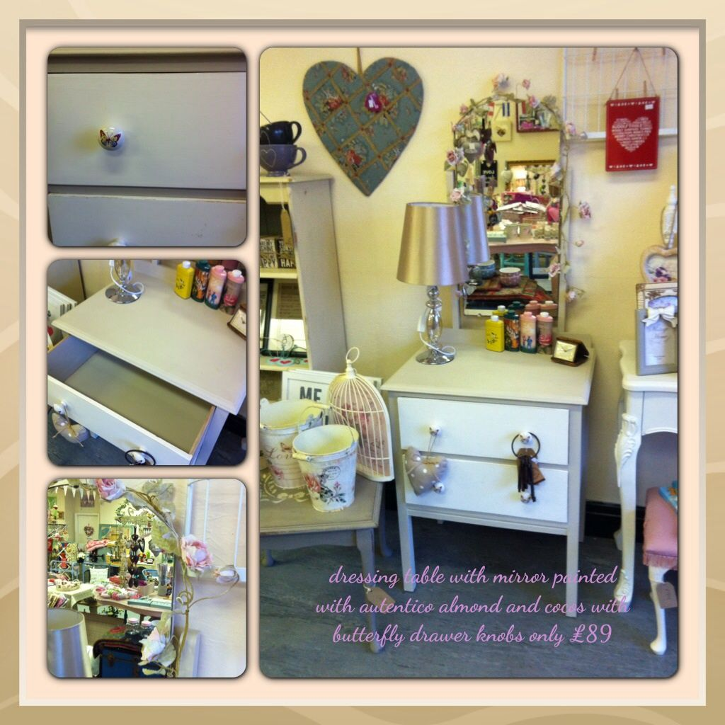 Dressing table and mirror painted with autentico chalk paint