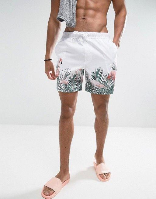 ASOS Swim Shorts With Flamingo Print In Mid Length