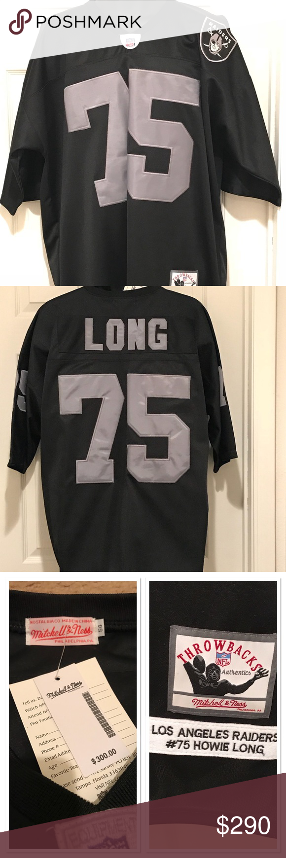 buy popular 5c3c3 5f00a HOWIE LONG THROW BACK RAIDERS JERSEY NWT MENS SIZE 54 ...